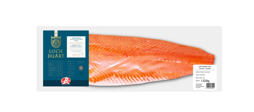 Salmon fillet in Loch Duart branded pack